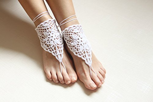 White Crochet Barefoot Sandals Barefoot Beach Wedding Foot Jewelry Bare Foot Sandals Chain Beach Pool,Nude shoes,Foot jewelry Barefoot Sandles Shoes get free Crystal/ Stone Yoga Shoes Wedding Accessory