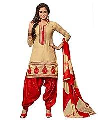 Lookslady Beige Chanderi Salwar Suit