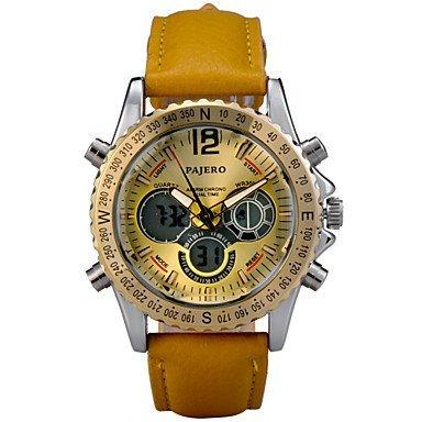 Fenkoo Da uomo Orologio da polso Quarzo LED / LCD / Calendario / Cronografo / Resistente all'acqua / Due fusi orari / allarme Pelle BandaNero /