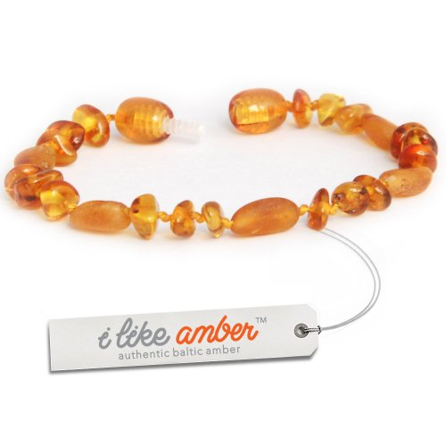 13-15cm Genuine Baltic Amber Teething Bracelet Anklet - Baby Toddler Child size - Cognac Color - Great New Mum or Christening Gift + Free Organza Gift Bag