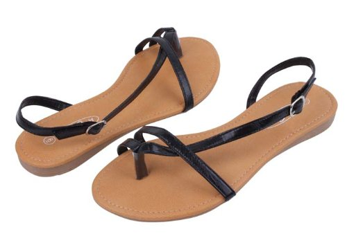 New Starbay Brand Women's Black Strappy Gladiator Sandals Flats Size 8