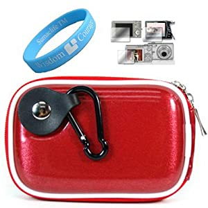 TPU Red Camera Case for Sony Cyber-shot DSC-T100 T2 T20 T200 Cybershot T300 T5+ Screen Protector + Wristband