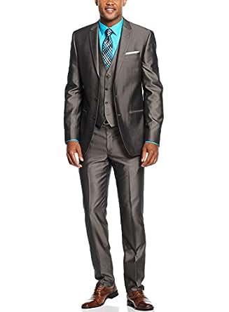 Andrew Fezza Men 39 S 3 Piece Taupe Slim Fit Suit 42l 42 Long