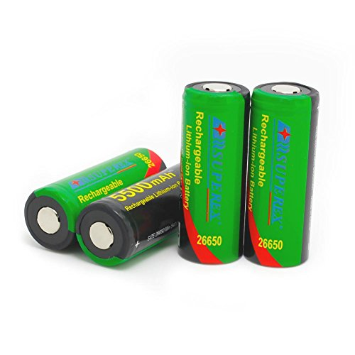 SUPEREX? 4PCS 1 word 26650 3.7V 5500mAh Cylindrical Li-ion Rechargeable Batteries With PCB Protected In The Transparent PP Case including 4pcs (Plz pay attention to the size: 68.5X26mm, it's industrial use battery and only be used in specific professional equipments)