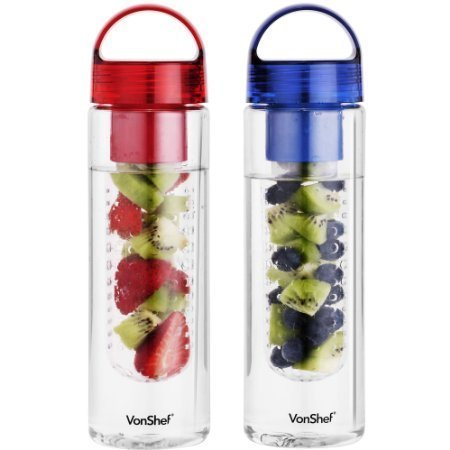 VonShef 2 Pack 700ml Fruit Infuser Water Infusing Bottle - BPA Free (Infuse Bottle compare prices)