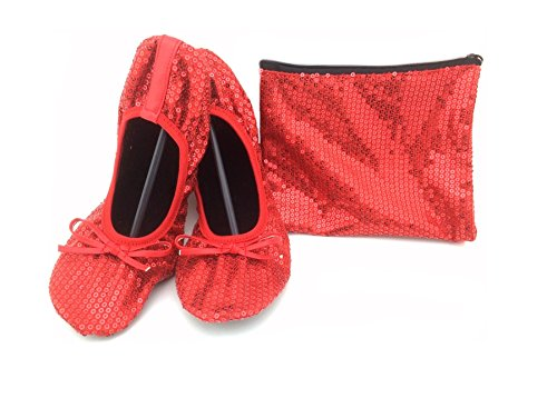 Shoes 18 Women's Foldable Portable Travel Ballet Flat Shoes w/ Matching Carrying Case Ruby Red Sequin 7/8 (Red Ballet Flats For Women compare prices)