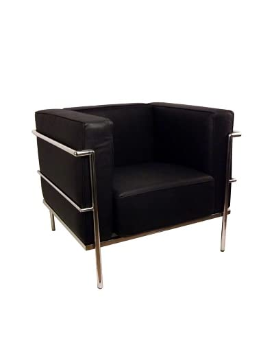 Control Brand Le Corbusier One Seater Leather Sofa, Black