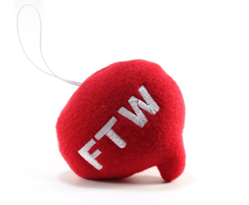 "Throwboy Throwbabies ""FTW"" Chat Mini 3.5"" Throw Pillow, Red - 1"