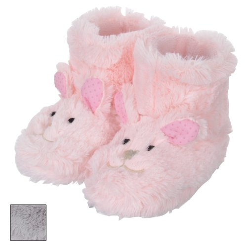 Girls Fluffy Faux Fur Rabbit Animal Bootie Slippers With Ears & Non Slip Sole