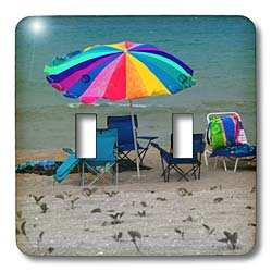 Susans Zoo Crew Photography Beach - chairs and umbrella on beach - Light Switch Covers - double toggle switch