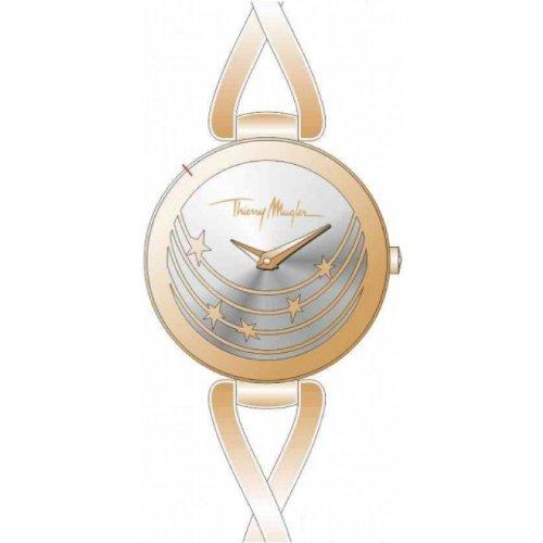 Thierry Mugler - 4721204 - Montre Femme - Quartz Analogique - Cadran Argent - Bracelet Métal Doré