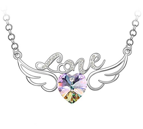 "White Gold Plated Hollow Style Letter Love Angel Wings Heart Swarovski Crystal Elements 25"" Long Chain Pendant Necklace Fashion Jewelry For Women (Galattica Purple)"