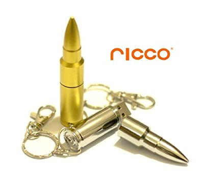 Ricco Metal Bullet 4GB High Speed USB 2.0 Flash Drive Support Windows and MacOS Water Proof and Shock Proof Aliminium Body with Key Ring and Belt Loop (Silver and Gold Available) by Ricco