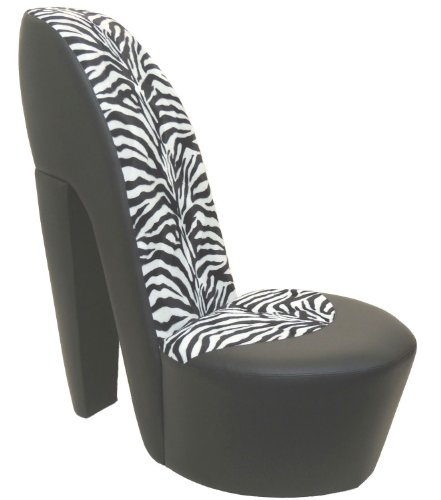 BLACK STILETTO / SHOE / HIGH HEEL CHAIR ZEBRA FAUX FUR