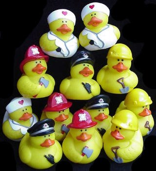 One Dozen (12) Working Rubber Ducks ~ Nurse, Fireman, Police, Construction