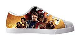 Renben Awesome Nonslip Captain America Kids Girl\'s Canvas Shoes Lace-up Low-top Sneakers Fashion Running Shoes