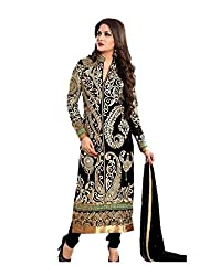 Shree Ashapura Creation Women`s Georgette Embroidered Semi-stitched Salwar Suit Dupatta Material(Black & Peacock-Design)