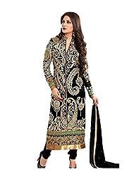 Prachi Silk Mills Women`s Georgette Embroidered Semi-stitched Salwar Suit Dupatta Material(Black & Peacock-Design)