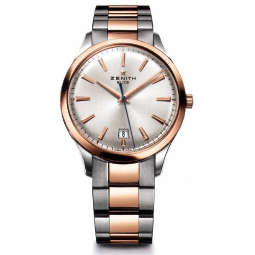 New Mens Zenith Elite Captain Central Second 18K Rose Gold and Stainless Steel Watch 51.2020.670/01.M2020