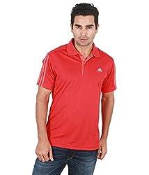 Adidas Men's Plain Polo Neck T-Shirts Size-L COLOR-Lt.Scarlet