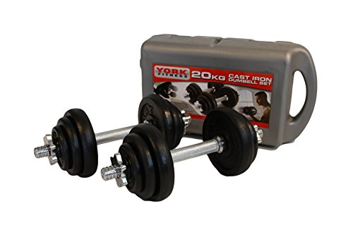 York Fitness Cast Iron Dumbbell Set and Case - Black, 20 Kg