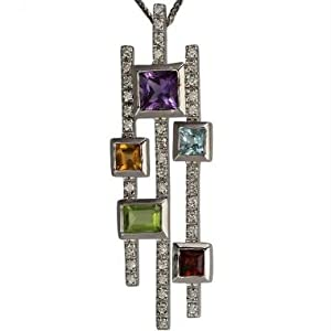 Multi Color And Diamond Pendant With Peridot Amethyst Citrine And Garnet With Fine White Diamonds In PLATINUM