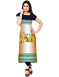 Kenil Fabrics Navy Blue And Orange Crepe Silk Unstich Printed Festivalwear Kurti For Women