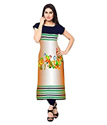 Saiveera Fashion New Arrival Women's Crepe Long Kurtis (VAT149_MultiColoured_Large)