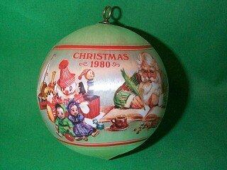 Santa's workshop Satin Ball 1980 hallmark ornament