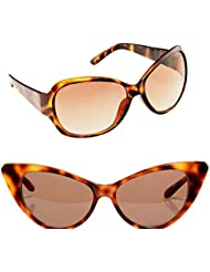New Stylish UV Protected Combo Pack Of Sunglasses For Women / Girl ( BrownButterfly-BrownCateye ) ( CM-SUN-033 )