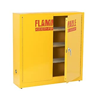 """Edsal SWH24F Powder Coated 18 Gauge Welded Steel Flammable Liquids Safety Wall Cabinet with 3 Levels, 24 Gallon Capacity, 44"""" Height x 43"""" Width x 12"""" Depth, Yellow"""