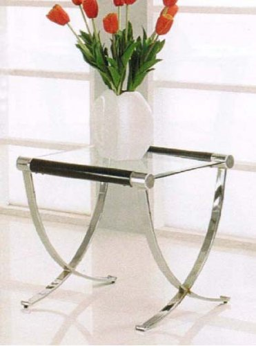 Cheap End Table with Cross Metal Base in Chrome Finish (VF_AM18422)