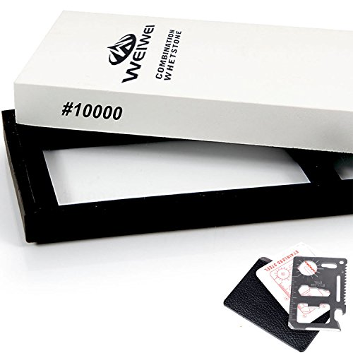 WEIWEI® 10000 Grit Whetstone ★ Bonus Card Wallet Knife ★ Waterstone Knife / Razor Sharpener Super Fine Sharpening Stone for Sharpening and Polishing Edges (Razor Edge Sharpening Stone compare prices)