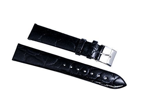 18mm-black-patent-leather-watch-bands-lightly-padded-shiny-oily-glossy-cowhide-skin-crocodile-emboss