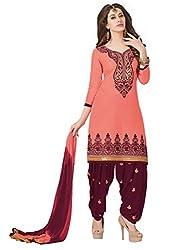 Salwar Studio Peach & Wine Red Cotton Dress Material with Dupatta Royal Patiyala-5003
