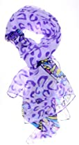 ForeverScarf Silk Thin Neckerchief Scarf w/ Animal Print and Butterfly, Purple