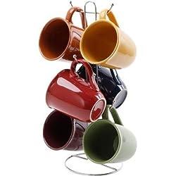 Multi Color, Stoneware, 15-ounce Mug Set with Metal Rack, Set of 6, Dishwasher & Microwave Safe