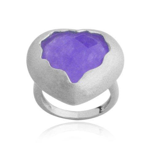 Sterling Silver Purple Quartzite Heart Ring, Size 7