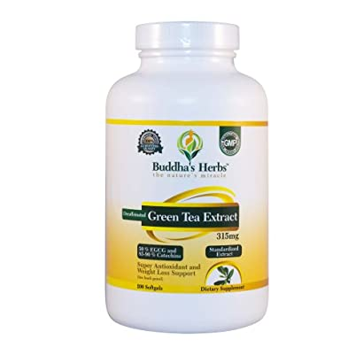 Buddha's Herbs Decaffeinated Green Tea Extract 315mg (50% EGCG), 200c