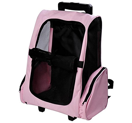 Tenive Airline Approved Pet Carrier Traveler Roller Backpack with Wheels for Dogs and Cats,Pink