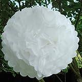 White Tissue Paper Christmas or Wedding Pom Poms - PKT 10