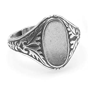 Beadaholique Plated Ornate Leaves Glue-On Oval Signet Ring, 14 by 7mm, Antiqued Silver