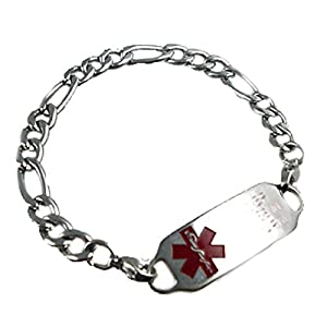Women's Stainless Figaro Medical Alert Bracelet, FREE Custom Engraving by Creative Medical ID