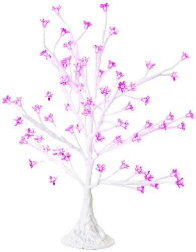Arclite Nbl-050-5 Cherry Blossom Tree, 2.5' Height, With White Trunk, Pink Crystals And Pink Lights