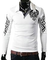 Zehui T-shirt à manches longues pour homme Motif tatouage