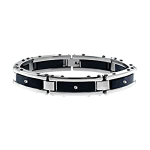 Women's Stainless Steel Link Bracelet with Diamond Inlays