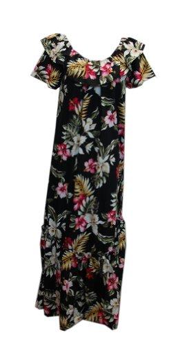 Jade Fashions Inc. Women Hawaiian Long Double Ruffle Black Orchid Muumuu-Black-3XL