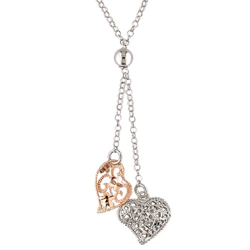 Pink and White Silver Plated Heart Necklace, 16