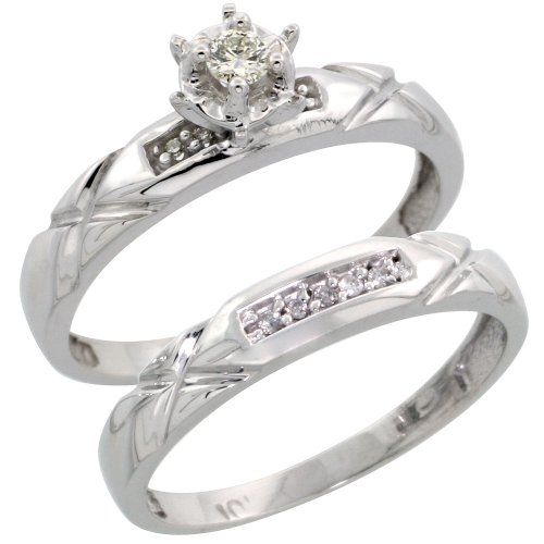 10k White Gold 2-Piece Diamond Engagement Ring Set, w/ 0.12 Carat Brilliant Cut Diamonds, 1/8 in. (3.5mm) wide, Size 8