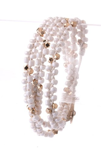 Trendy Fashion Jewelry Bead Braid Wrap Bracelet By Fashion Destination | (White)